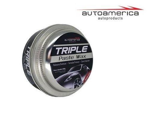 03 Cera Carnaúba Triple Wax Autoamerica 300g + 12 Flanela Toalha Microfibra 40 X 60 Cm Autoamerica