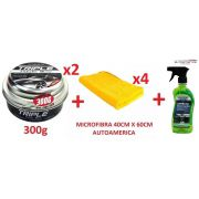 02 Cera Carnaúba Triple Wax Autoamerica 300g + 04 Flanela Toalha Microfibra 40 X 60 Cm Autoamerica + 01 limpador multiuso APC 500ml Vonixx