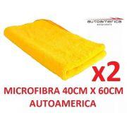 02 un Flanela Toalha Microfibra 40 X 60 Cm Autoamerica (sem embalagem / blister)