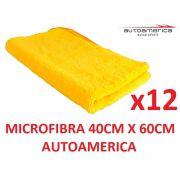 12 un Flanela Toalha Microfibra 40 X 60 Cm Autoamerica (sem embalagem / blister)
