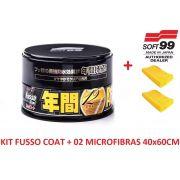 Cera Fusso Coat Black Escuros Preto Dark 1 Ano Soft99 + 02 Flanela Toalha Microfibra 40 X 60 Cm Autoamerica (sem embalagem / blister)
