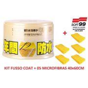 Cera Fusso Coat Soft99 Light Carros Cores Claras 200g Branca + 05 Flanela Toalha Microfibra 40 X 60 Cm Autoamerica (sem embalagem / blister)