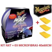 Cera Nxt Tech Wax 2.0 Meguiars Pasta Roxa G12711 + 03 Flanela Toalha Microfibra 40 X 60 Cm Autoamerica (sem embalagem / blister)