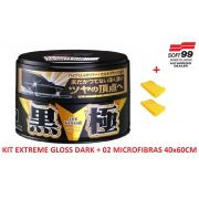 Cera Sintética Extreme Gloss Black & Dark Soft99 Cores Escuras + 2 microfibra 40x60 Autoamerica