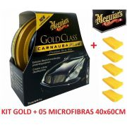 Cera Meguiars Gold Class Pasta Wax G7014 + 5 Flanela Toalha Microfibra 40 X 60 Cm Autoamerica