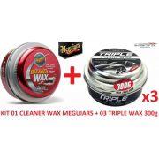 Kit 1 Cera Meguiars Cleaner Limpadora A1214 + 3 Triple Wax 300g