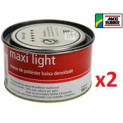 Kit c/ 02 Massa De Poliester Light 900 Grs Maxi Rubber 1mg025