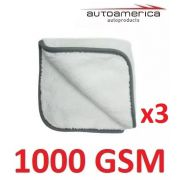 Kit c/ 03 Flanela Toalha Pano Microfibra 1000 Gsm 40x40 Cm Autoamerica