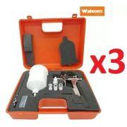Kit C/ 03 Pistola Pintura Slim S Hte Walcom 1.9 Gravidade