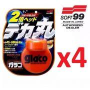Kit c/ 04 Repelente Glaco Roll On Large BIG Soft99 120ml Chuva Água
