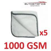 Kit c/ 05 Flanela Toalha Pano Microfibra 1000 Gsm 40x40 Cm Autoamerica