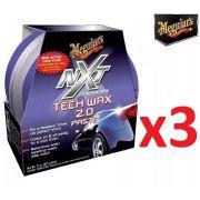 Kit c/ 3 Cera Nxt Tech Wax 2.0 Meguiars Pasta Roxa G12711