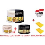 Kit Cera Fusso Coat Black Escuros Preto Dark 1 Ano Soft99 + 2 Cera Fusso Coat Soft99 Light Carros Cores Claras 200g Branca + 02 MICROFIBRAS 40x60