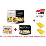 Kit Cera Fusso Coat Black Escuros Preto Dark 1 Ano Soft99 + Cera Fusso Coat Soft99 Light Carros Cores Claras 200g Branca + 02 MICROFIBRAS 40x60