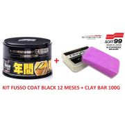 Kit Cera Fusso Coat Black Soft99 + Clay Bar Abras. Media Aut