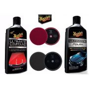 Kit Meguiars 1 Ultimate Compound +1 Ultimate Polish + 1 Boina Roxa 7 + 1 Boina Preta 7