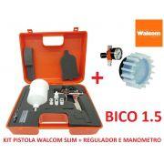 Pistola De Pintura Slim S Hte Walcom Bico 1.5 Gravidade + Regulador de pressão c/ Manômetro