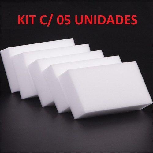 Kit C/ 5 Esponja Melamina Mágica 10x6x2 Cm Magic Sponge