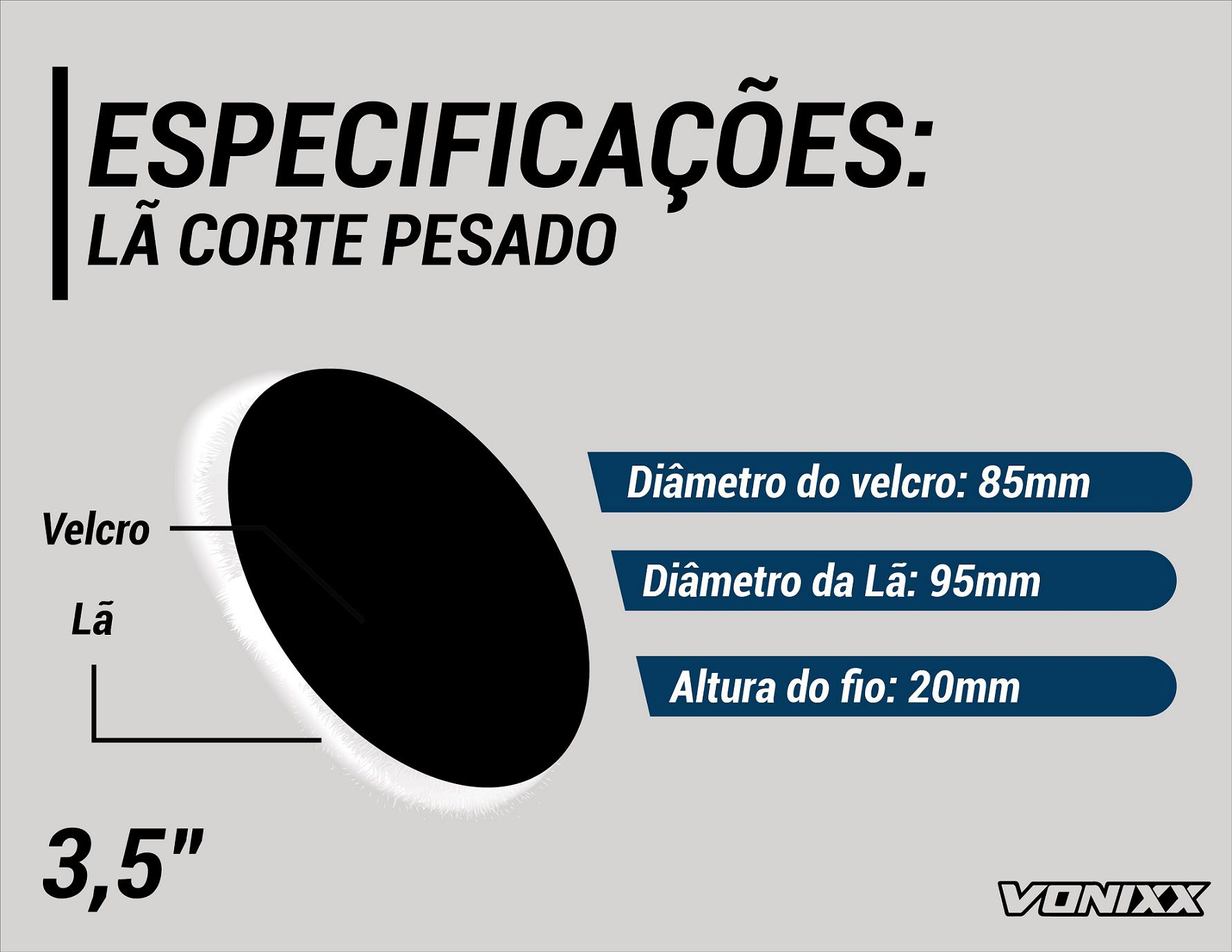 Boina De Lã Para Etapa De Corte Pesado 3,5 Vonixx Polimento Voxer
