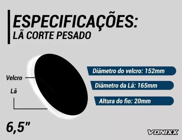 Boina De Lã Para Etapa De Corte Pesado 6,5 Vonixx Polimento Voxer
