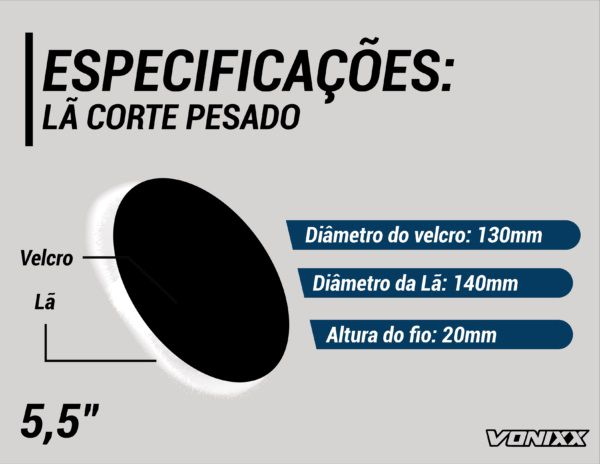 Boina De Lã Para Etapa De Corte Pesado 5,5 Vonixx Polimento Voxer