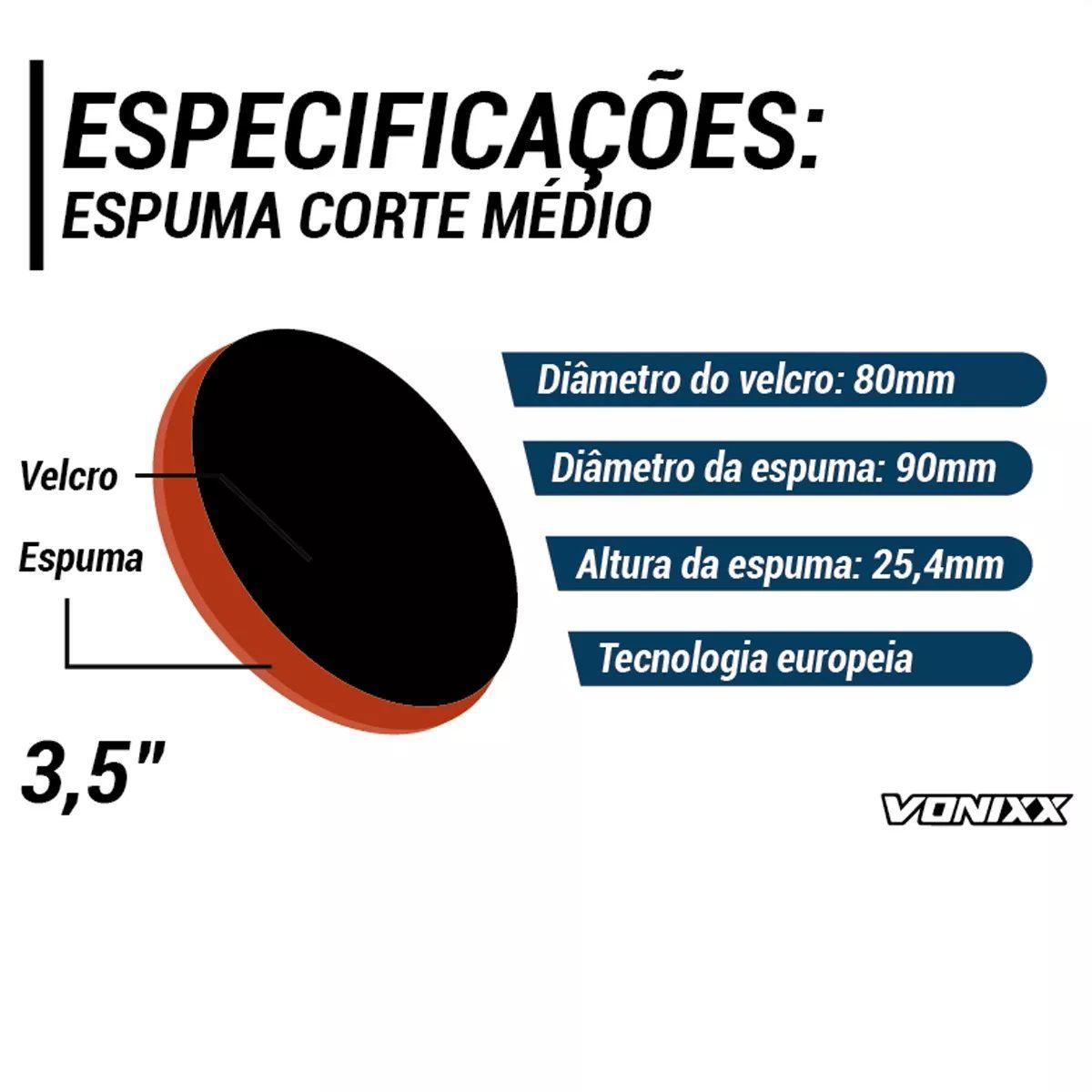 Boina Espuma Laranja Média Para Refino 3,5 Voxer Vonixx