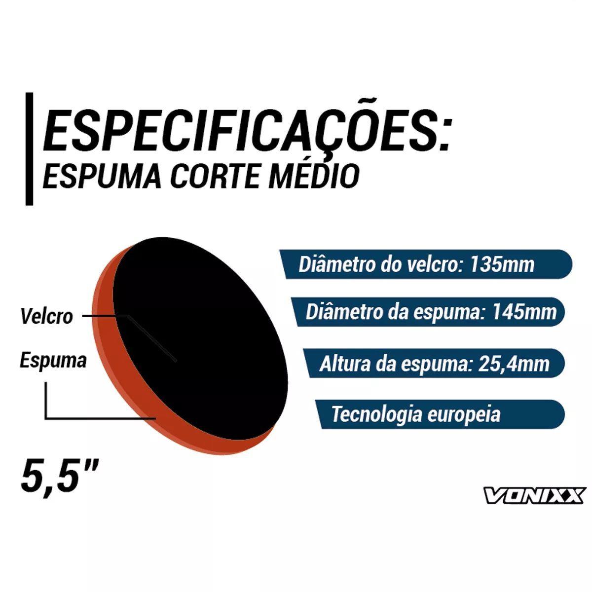 Boina Espuma Laranja Média Para Refino 5,5 Voxer Vonixx