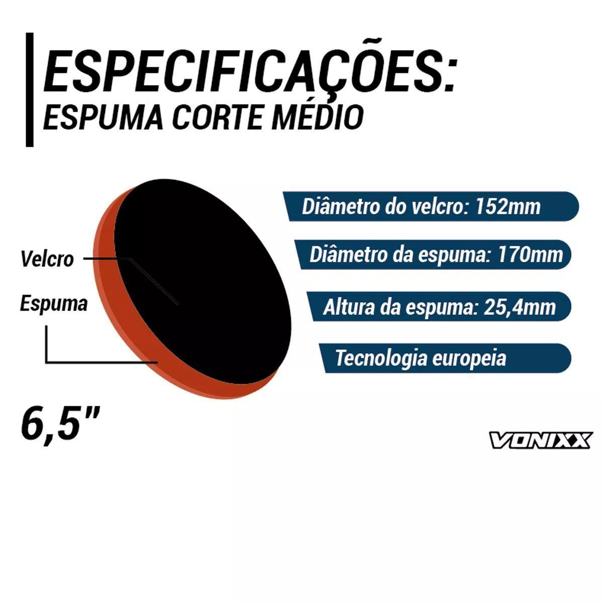 Boina Espuma Laranja Média Para Refino 6,5 Voxer Vonixx