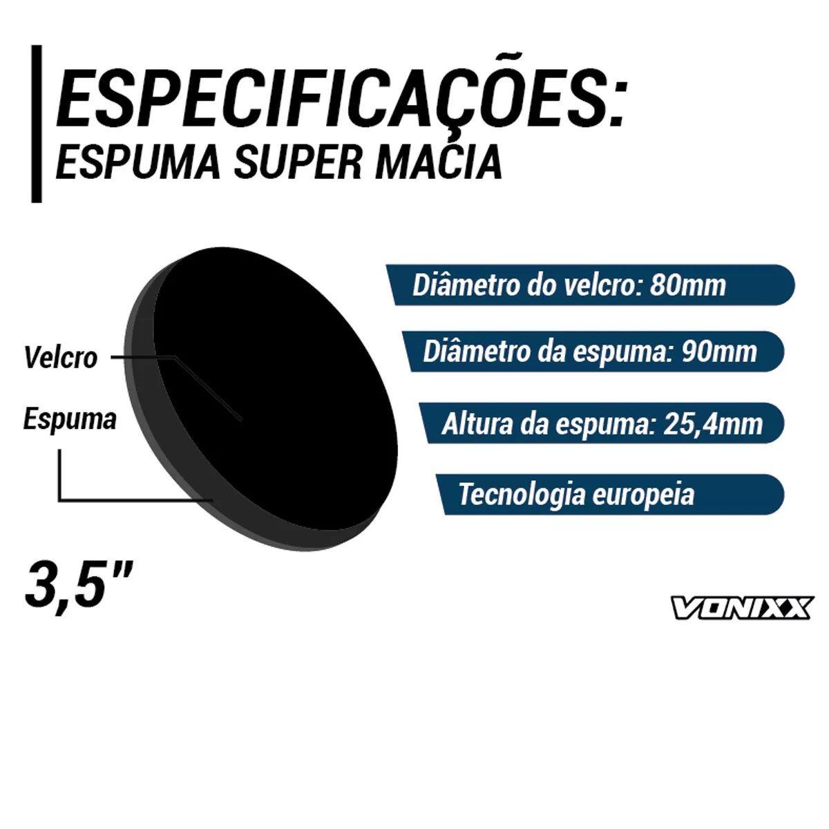 Boina Espuma Preta Média Para Lustro 3,5 Voxer Vonixx