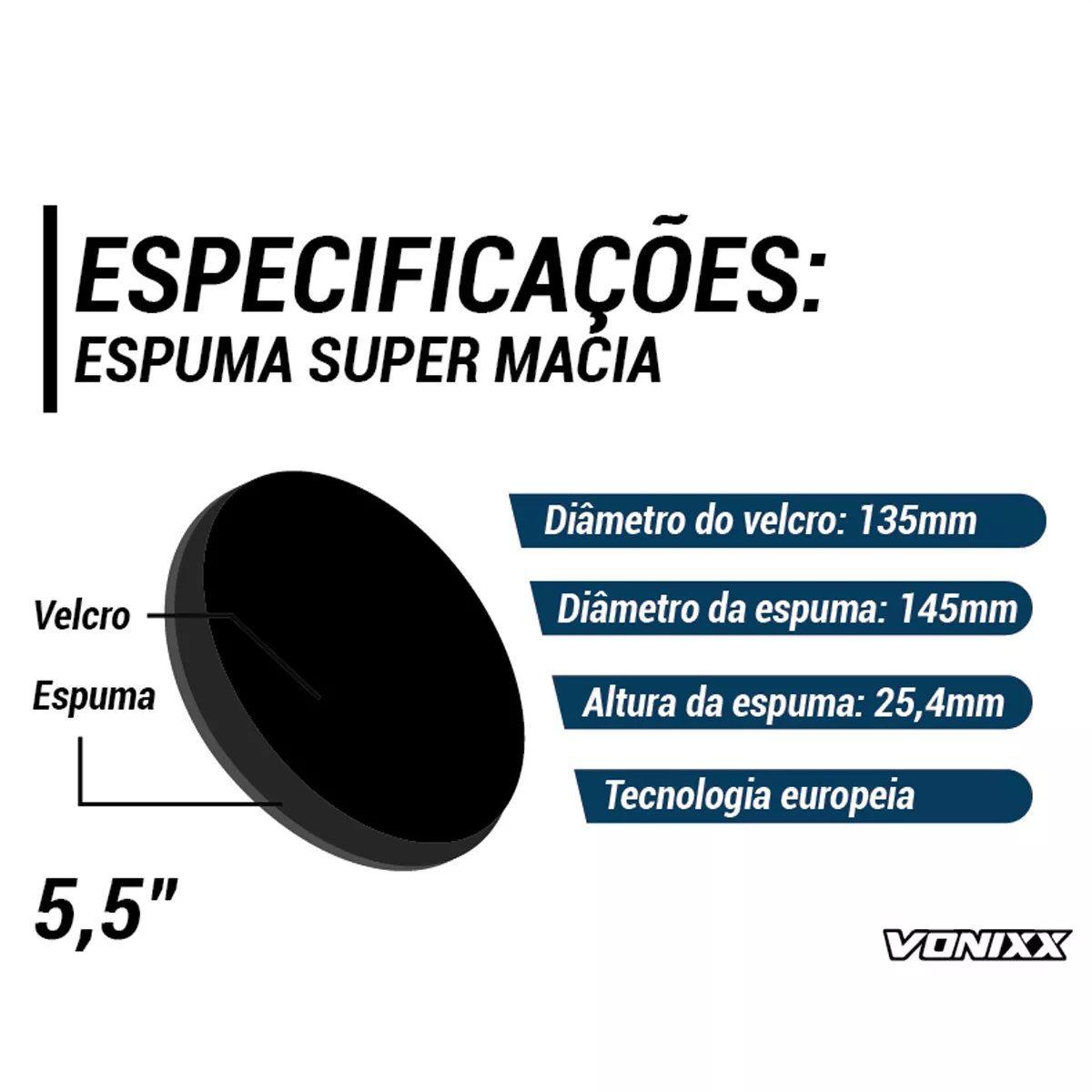 Boina Espuma Preta Média Para Lustro 5,5 Voxer Vonixx