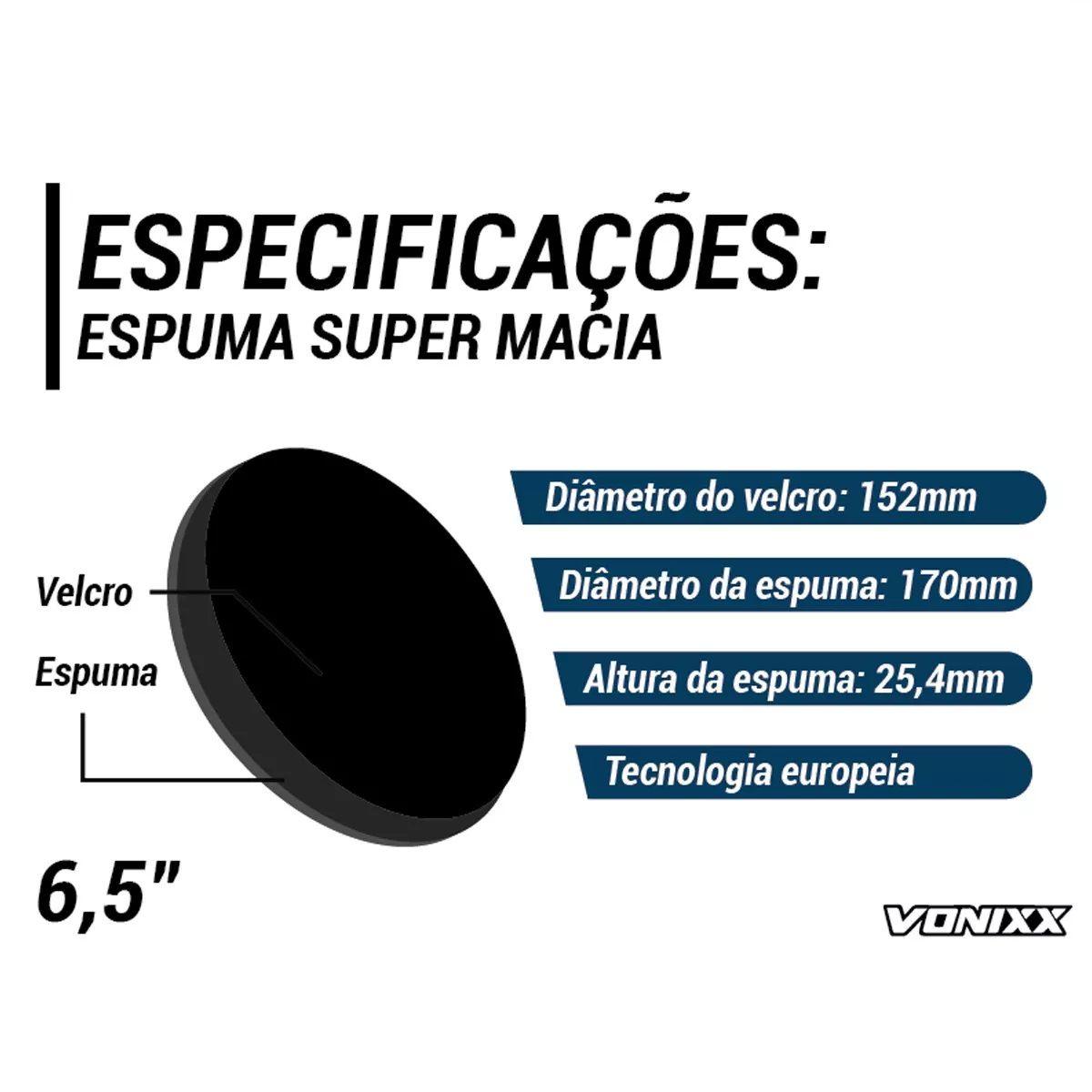 Boina Espuma Preta Média Para Lustro 6,5 Voxer Vonixx