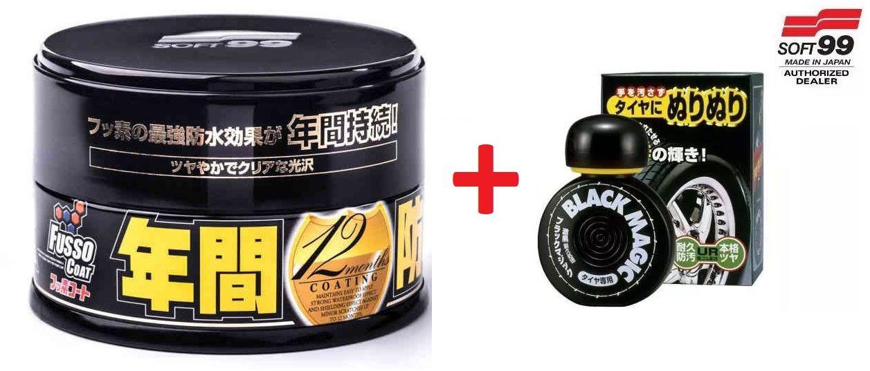 Cera Fusso Coat Black Escuros Preto Dark 1 Ano Soft99 + Pretinho Hidratante Pneu Dura 2 Mes Black Magic Soft99 150ml