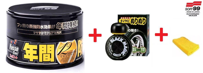 Cera Fusso Coat Black Escuros Preto Dark 1 Ano Soft99 + Pretinho Hidratante Pneu Dura 2 Mes Black Magic Soft99 150ml + microf