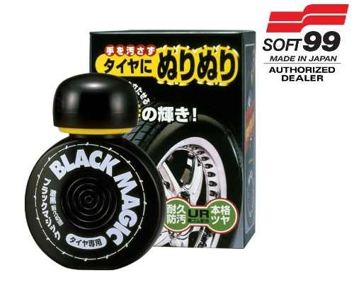 Cera Fusso Coat Black Escuros Preto Dark 1 Ano Soft99 + Pretinho Hidratante Pneu Dura 2 Mes Black Magic Soft99 150ml + microf