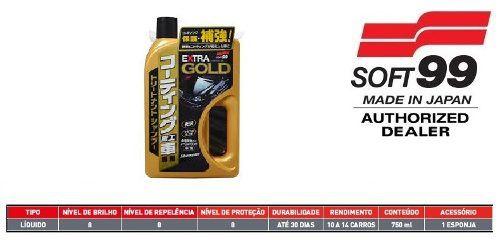 Cera Fusso Coat Black Escuros Preto Dark 1 Ano Soft99 + Shampoo Para Carros Vitrificados Gold Extra Soft99 750ml