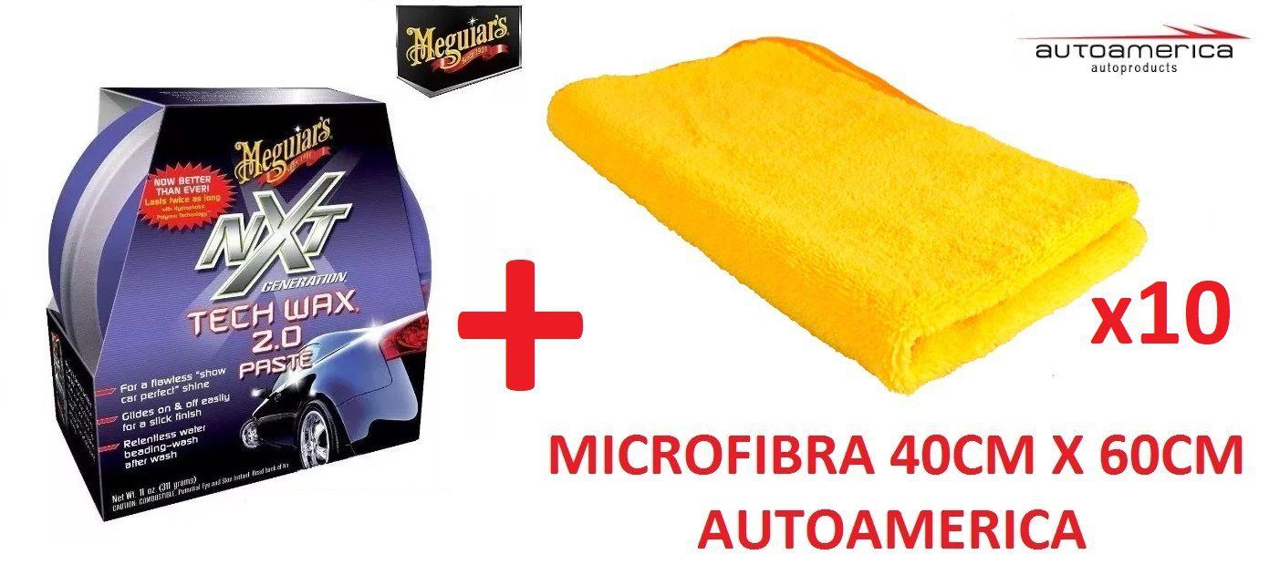 Cera Nxt Tech Wax 2.0 Meguiars Pasta Roxa G12711 + 10 Flanela Toalha Microfibra 40 X 60 Cm Autoamerica (sem embalagem / blister)