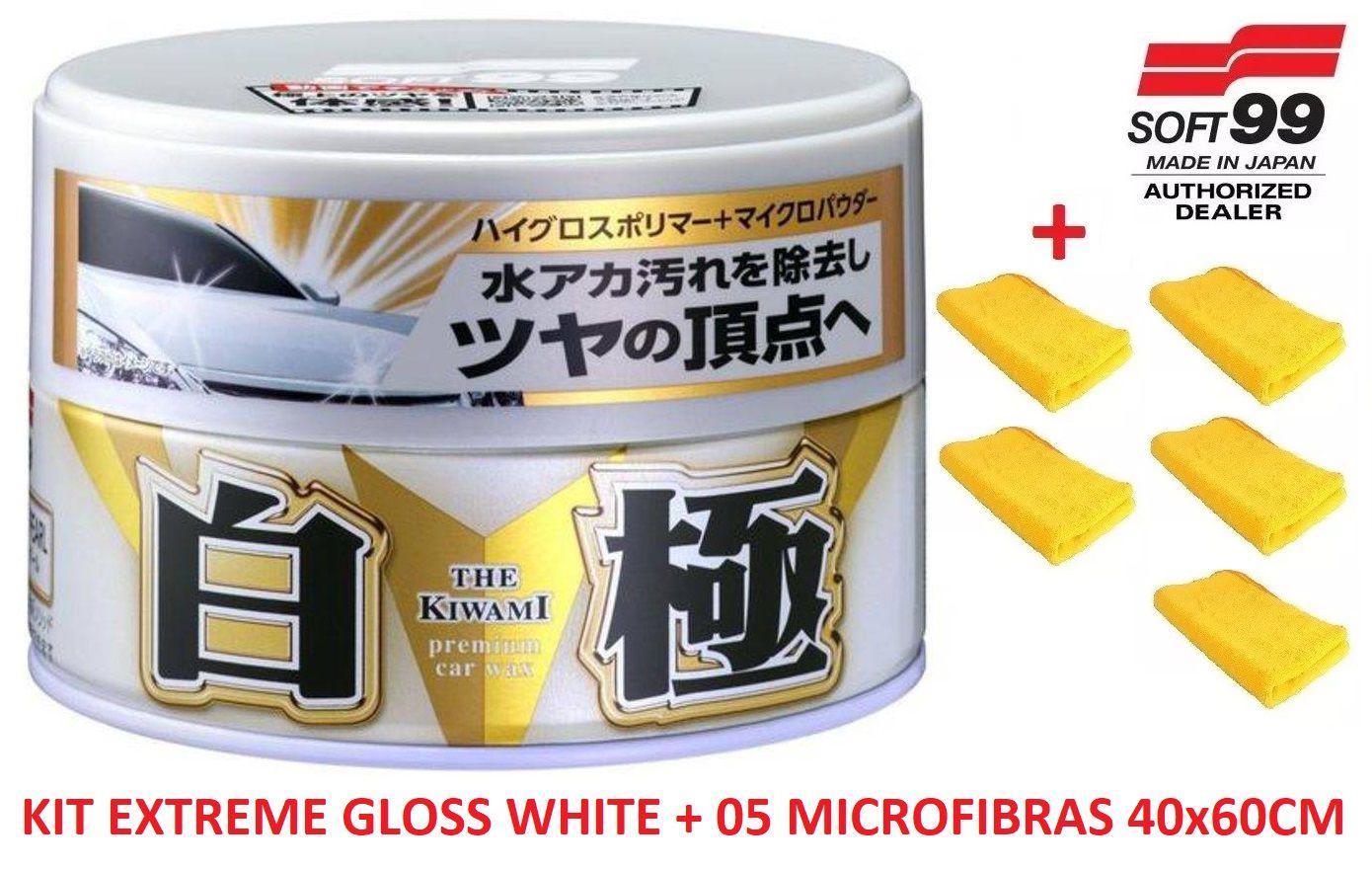 Cera Sintética Extreme Gloss White Soft99 Cores Claras + 05 microfibra 40x60 Autoamerica