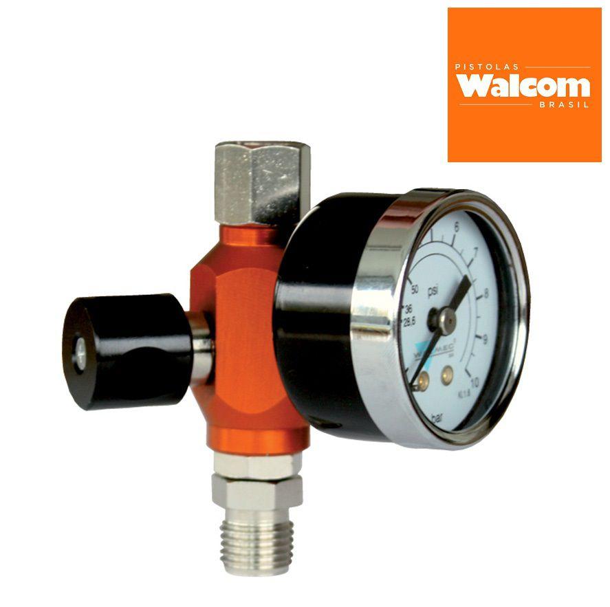 Pistola De Pintura Slim S Hte Walcom Bico 1.9 Gravidade + Regulador de pressão c/ Manômetro