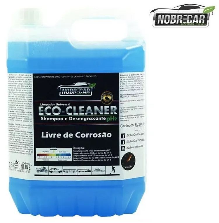 Eco Cleaner Shampoo E Desengraxante Ph9 5L Nobre Car