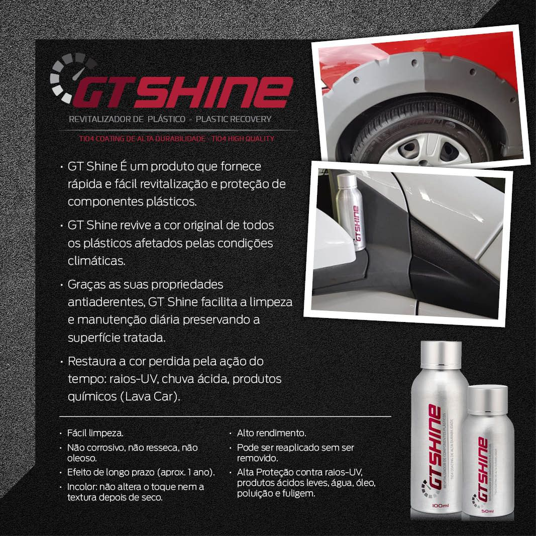 Gt Shine Coating Revitalizador Power Plásticos 50ml PROTEÇÃO