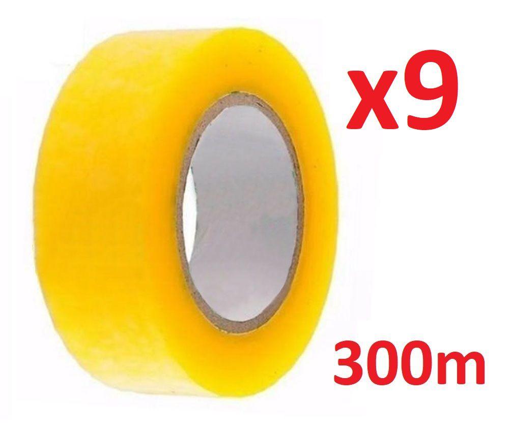 Kit 09 Fita Adesiva Transparente 300m Larga Durex Embalar