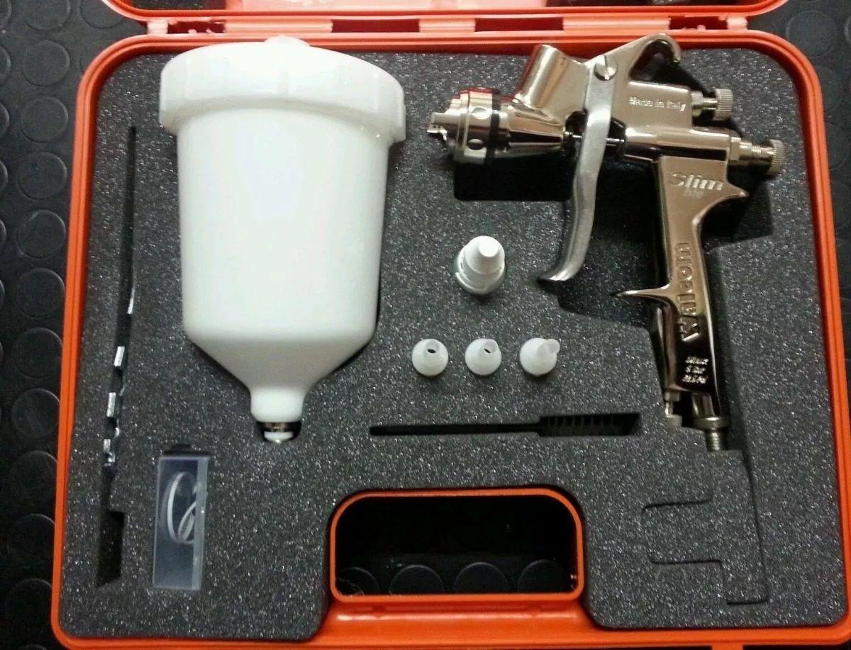 Kit 1 Pistola De Pintura Slim S Hte Walcom Bico 1.3 Gravidade c/ maleta + Manometro para pistola Walcom