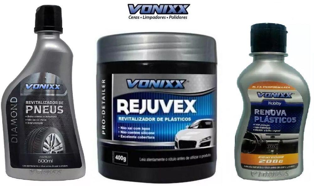 Kit 1 Renova Plásticos + 1 Rejuvex + 1 Revitalizador de Pneus Vonixx