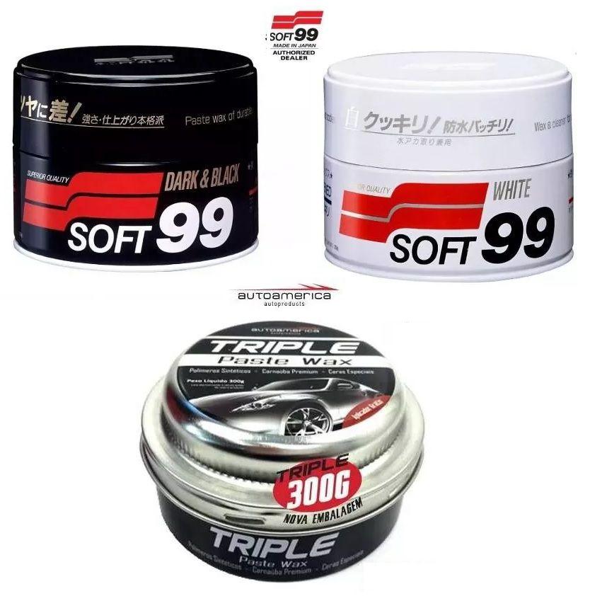 Kit 1 Soft99 White Wax Cleaner  + 1 Soft99 Dark & Black Wax + 1 Triple Wax 300