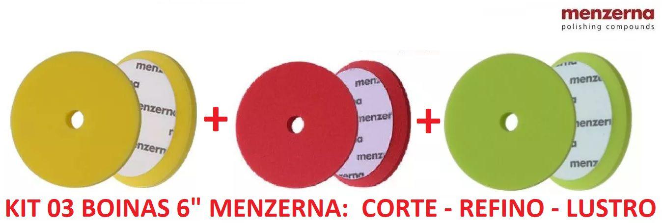 """Kit 3 Boinas Menzerna Corte Refino Lustro Verm. Verde Amar. 6"""""""