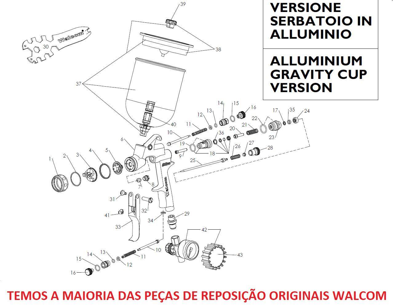 Kit Abc Reparo Pistola Slim S 1.3 Agulha Bico Capa Walcom