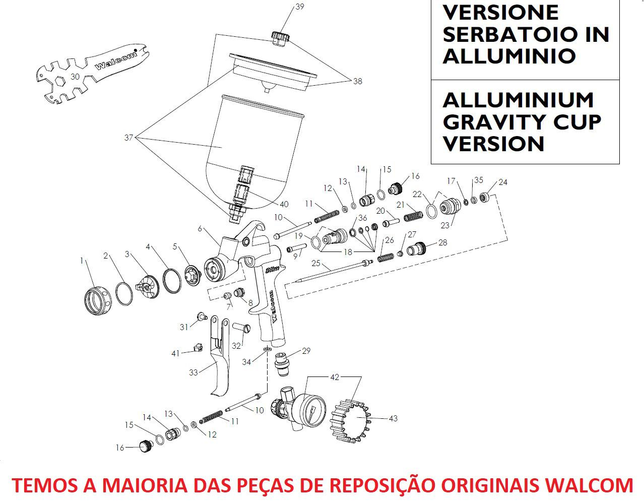 Kit Abc Reparo Pistola Slim S 1.9 Agulha Bico Capa Walcom