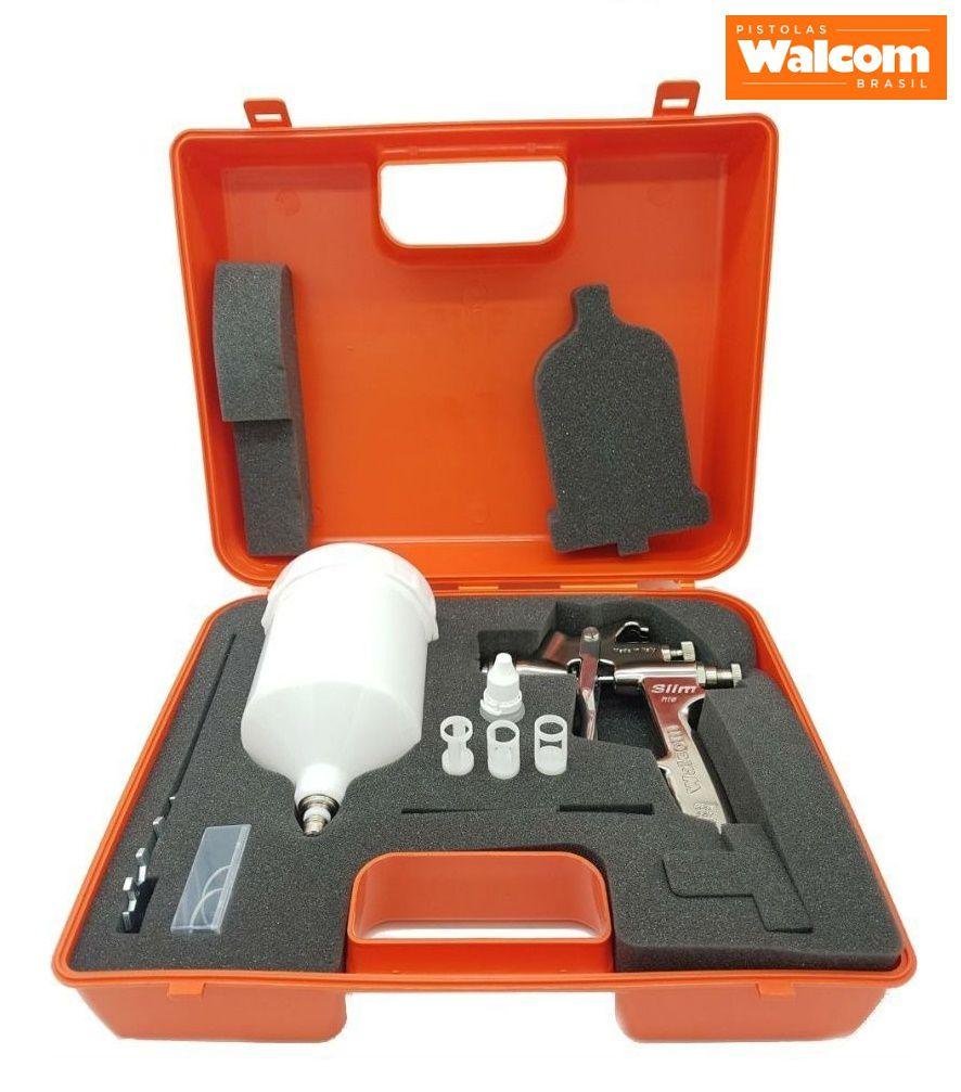 Kit C/ 02 Pistola Pintura Slim S Hte Walcom Bico 1.3 + 1.9 + 2 manômetros