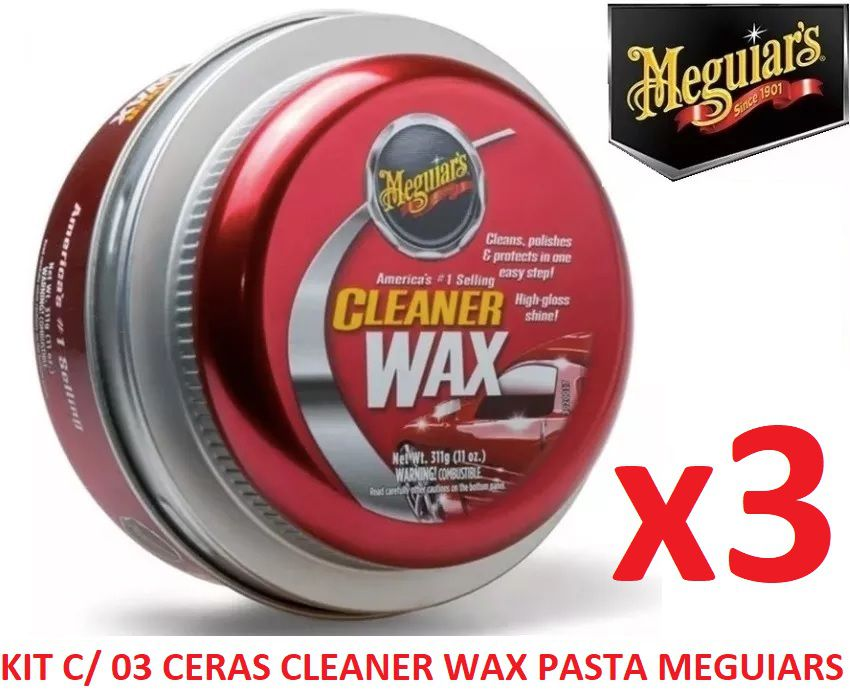 Kit C/ 03 Cera Meguiars Cleaner Wax Pasta Limpadora A1214