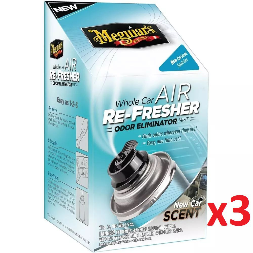 Kit c/ 03 Limpa Ar Condicionado Meguiars Air Re Fresher Elimina Odores